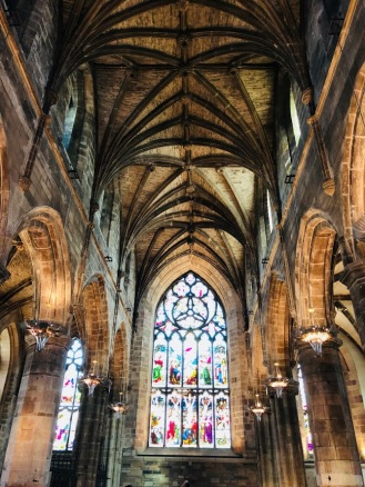 St. Giles Cathedral ceiling and stained glass